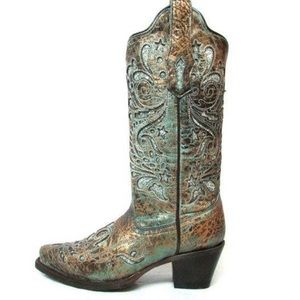 Corral bronce turquoise glitter inlay cowboy boots